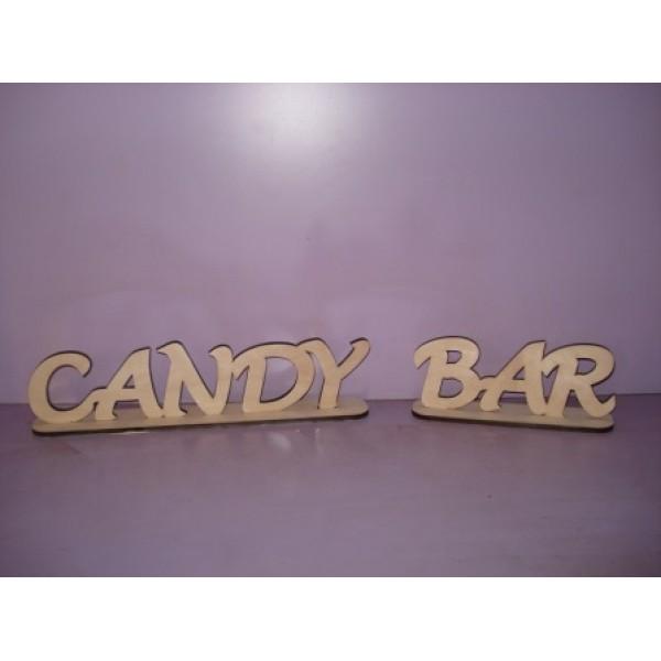 """Арт 446, Слова """"CANDY BAR"""" на подставке, фанера 6мм"""