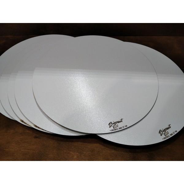 Арт 1079, Подложка под торт круг белая. Усиленная подложка для торта 25 см